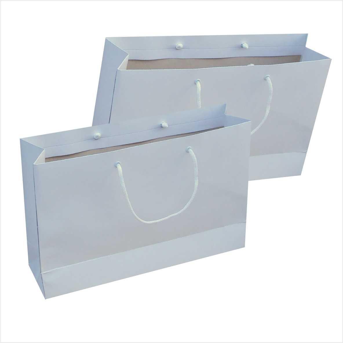 Sacola de papel kraft M - cor branca tamanho  -35x23x10 cm - 10 unidades