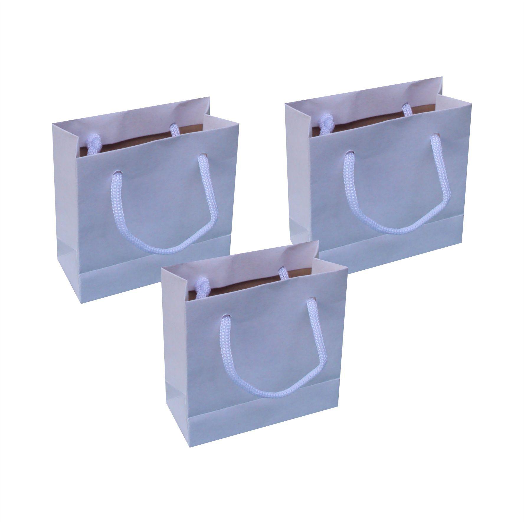 Sacola de papel kraft mini - cor branca tamanho  -10x10x4,5 cm - 10 unidades