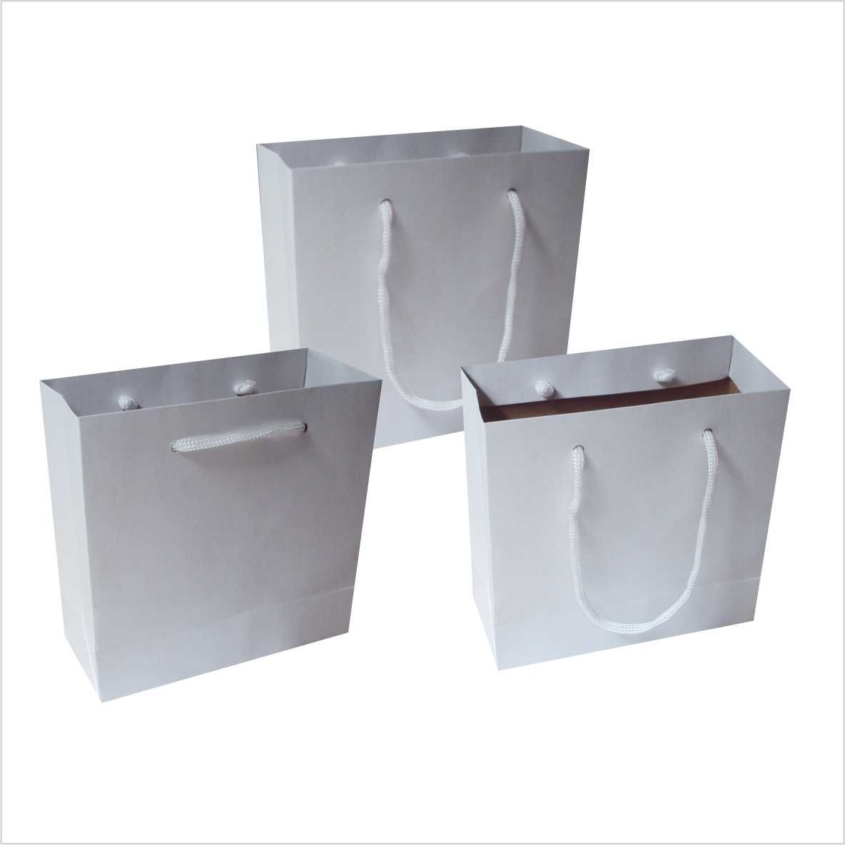 Sacola de papel kraft P - cor branca tamanho  -15x15x6,5 cm - 10 unidades