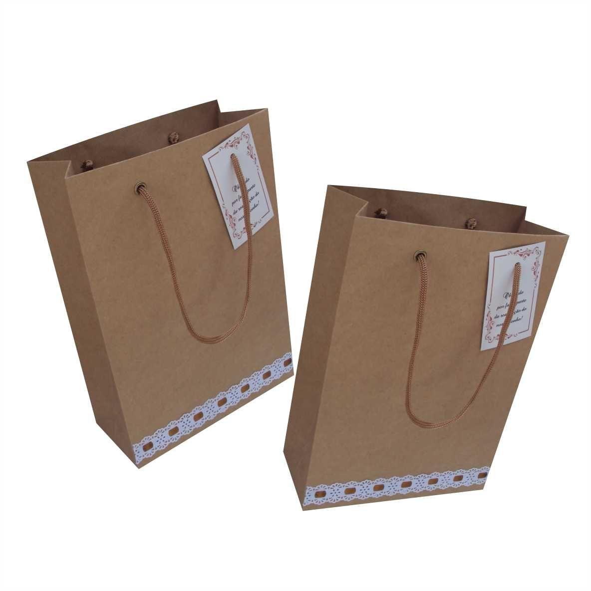Sacola de  papel kraft para lembrança de casamento (18x25x8 cm) 10 unidades