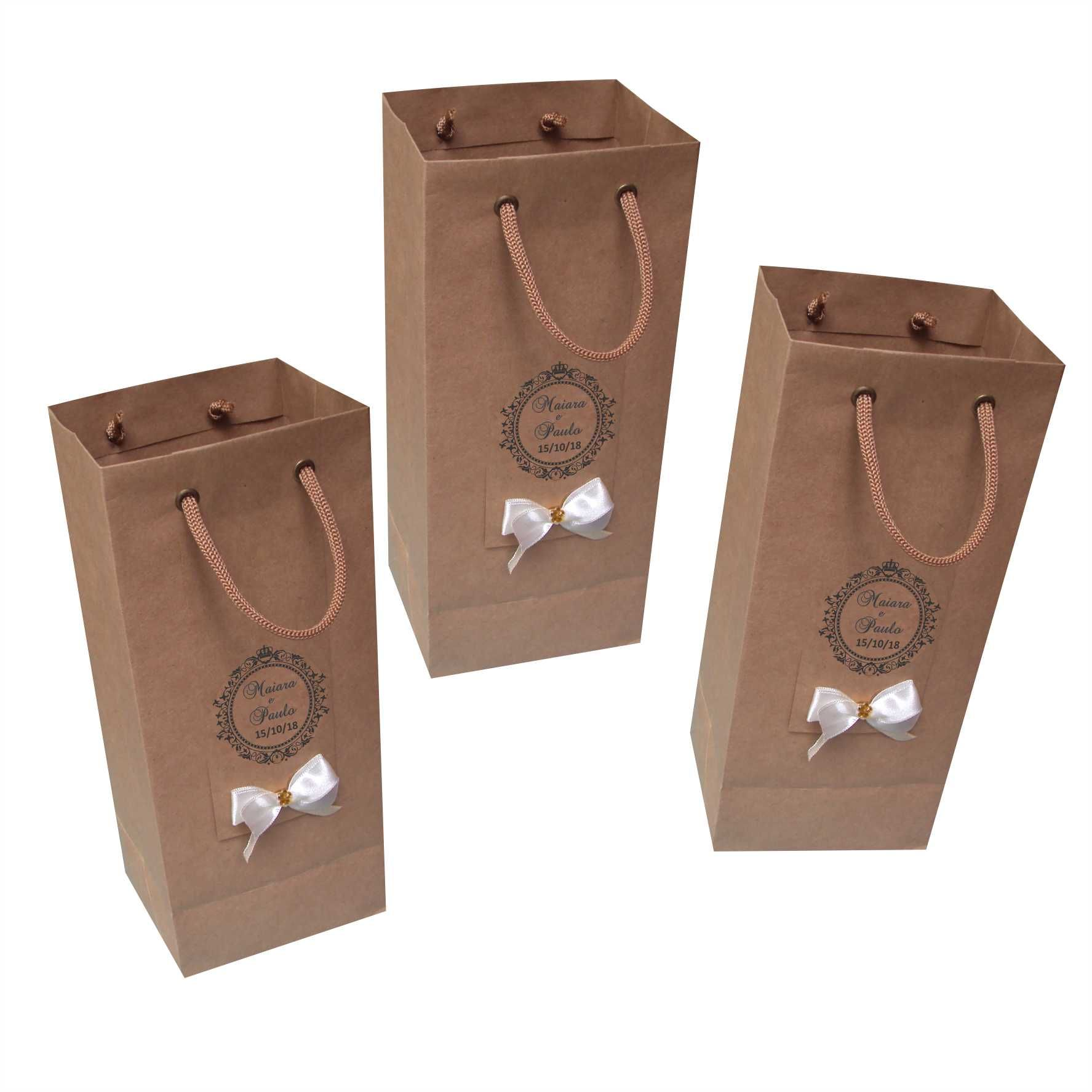 Sacola de papel kraft para mini garrafa - personalizada (11x23x9 cm) 15 unidades