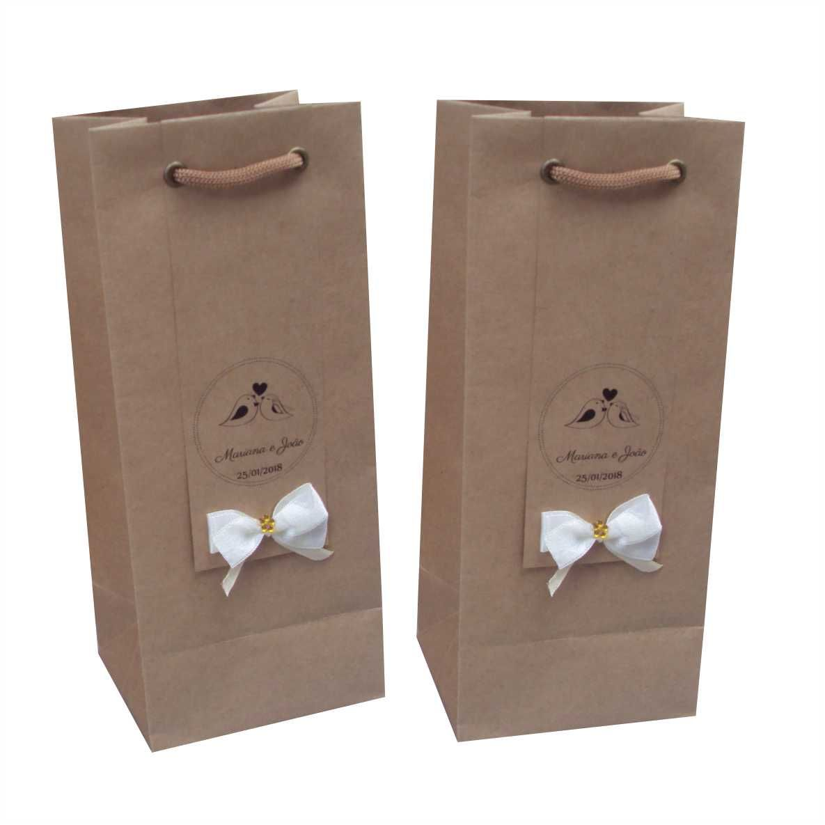 97f9e2a62 Sacola de papel kraft para mini garrafa - personalizada (11x23x9 cm) 15  unidades ...