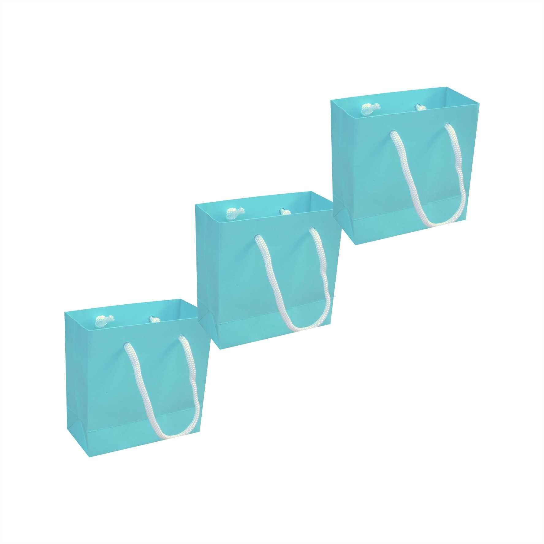 Sacola de papel mini (10x10x4,5 cm) azul tiffany - 10 unidades