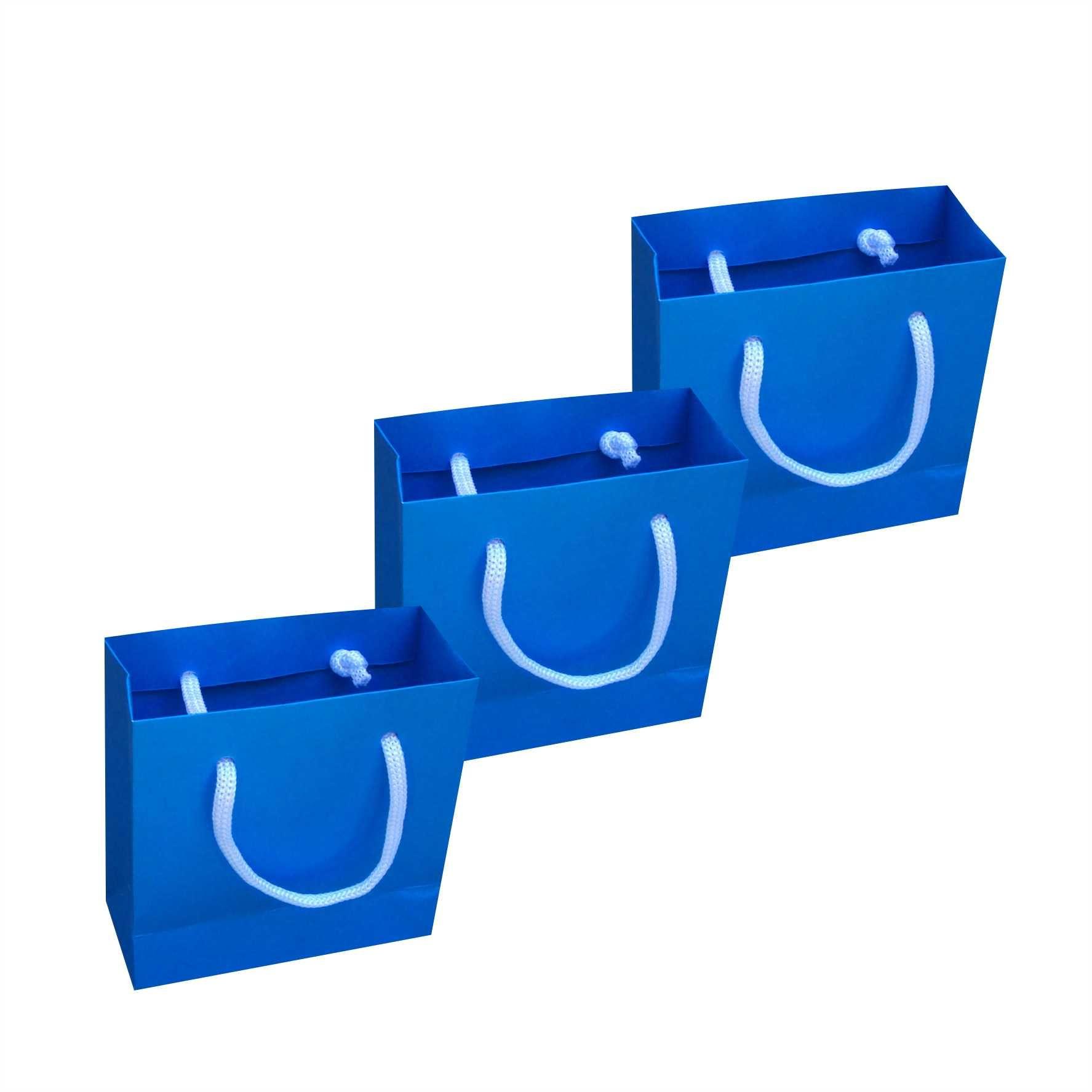 Sacola de papel mini (10x10x4,5 cm) azul turquesa - 10 unidades