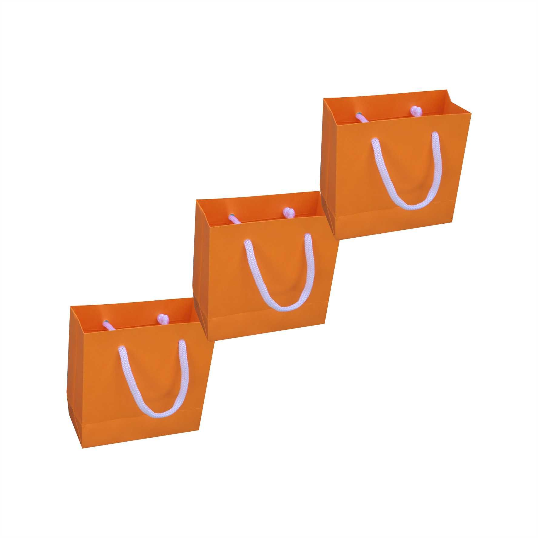 Sacola de papel mini (10x10x4,5 cm) laranja - 10 unidades