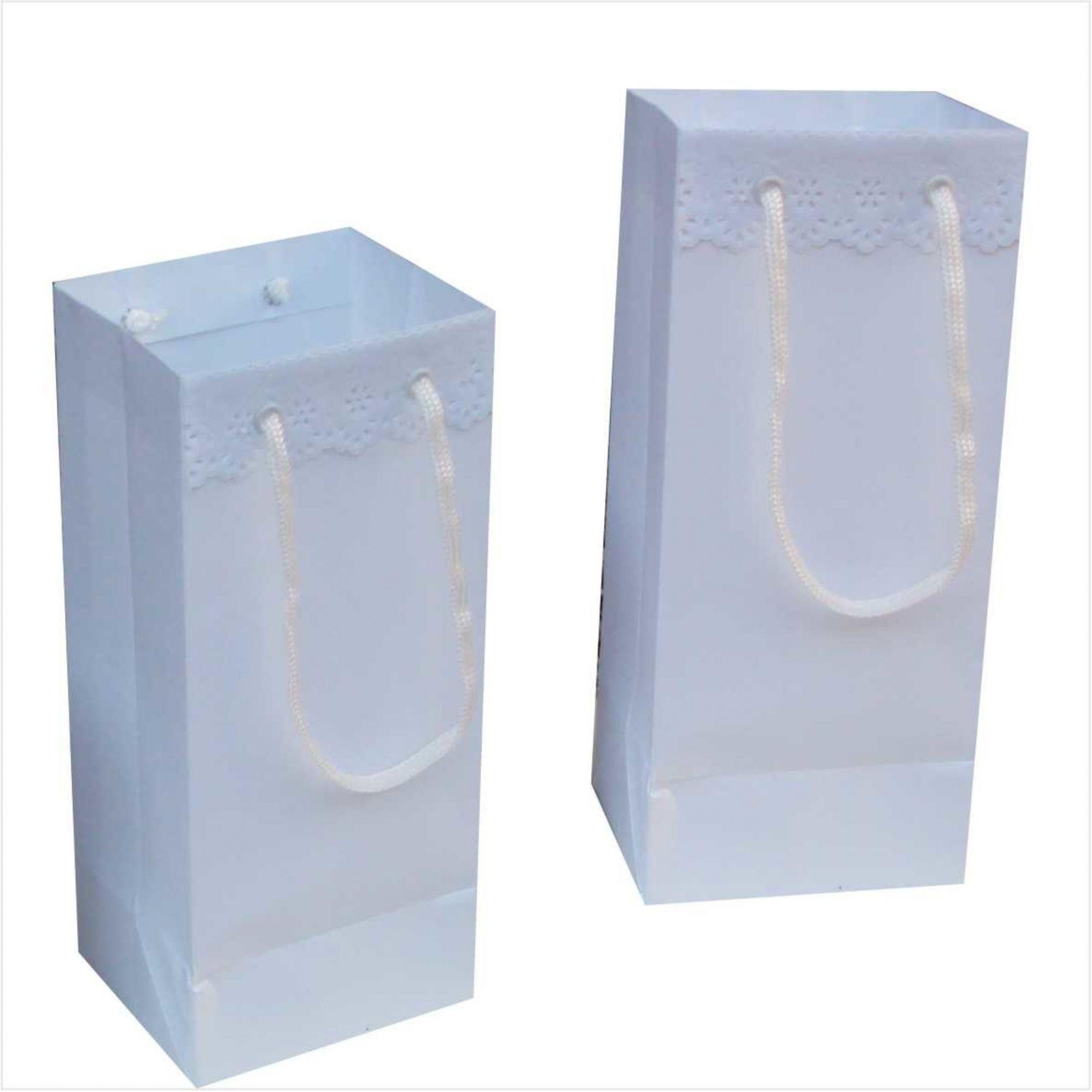 Sacola de papel para mini garrafa - cor branca - com bordado inglês (11x24x9 cm) 10 unidades