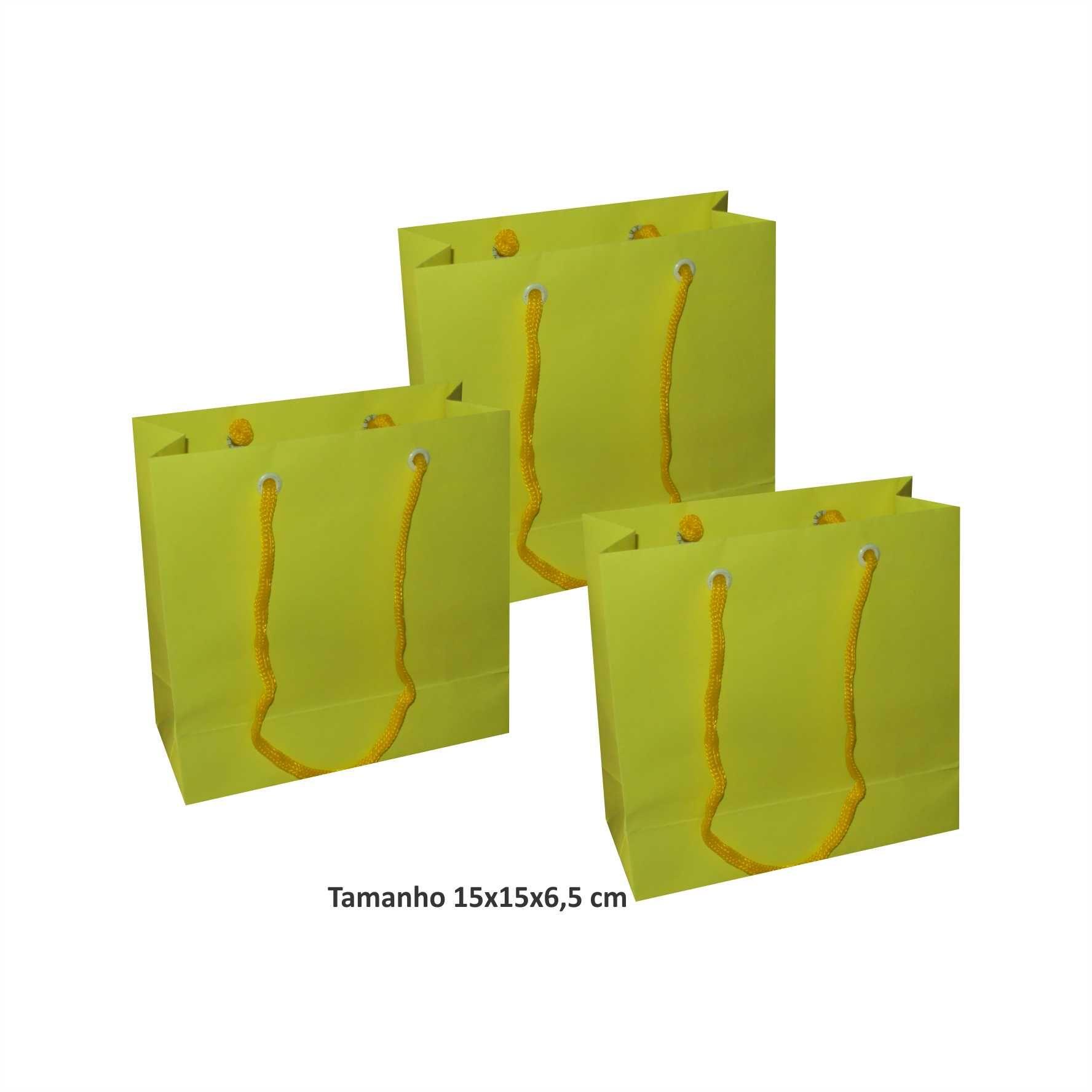 Sacola de papel Pequena (15x15x6,5 cm) amarela - 10 unidades