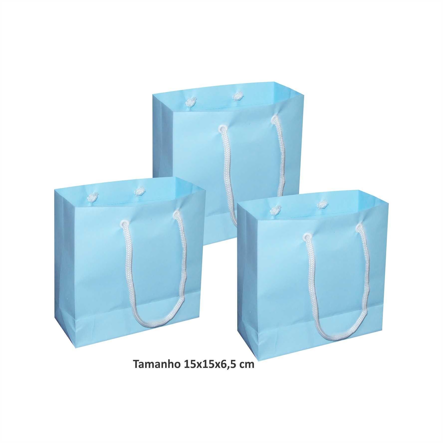 Sacola de papel Pequena (15x15x6,5 cm) azul bebê - 10 unidades