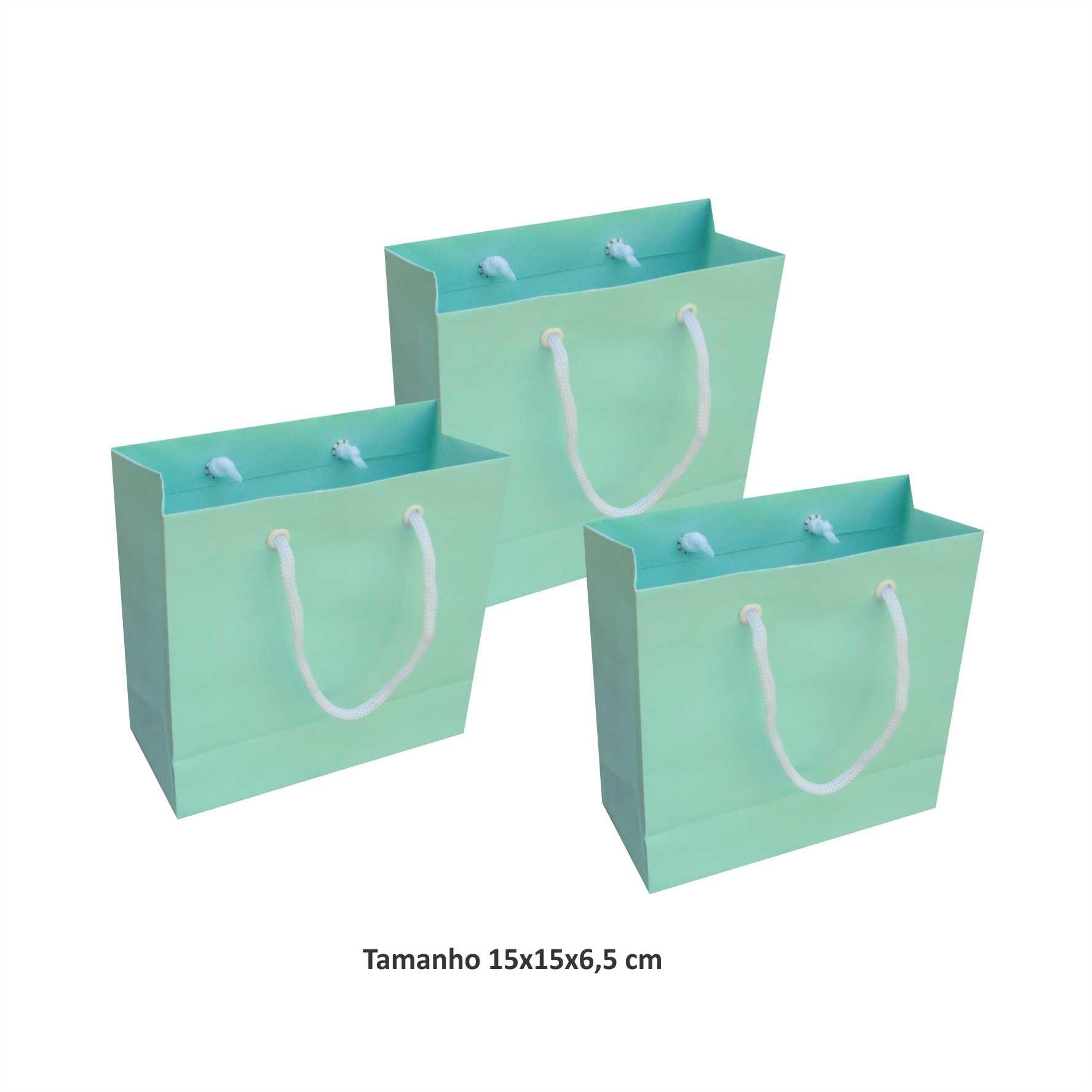Sacola de papel Pequena (15x15x6,5 cm) azul tiffany - 10 unidades