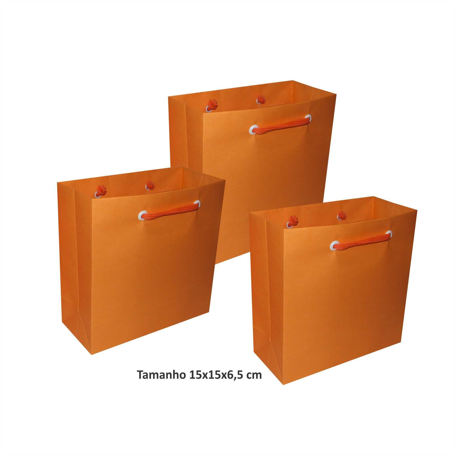 Sacola de papel Pequena (15x15x6,5 cm) laranja - 10 unidades