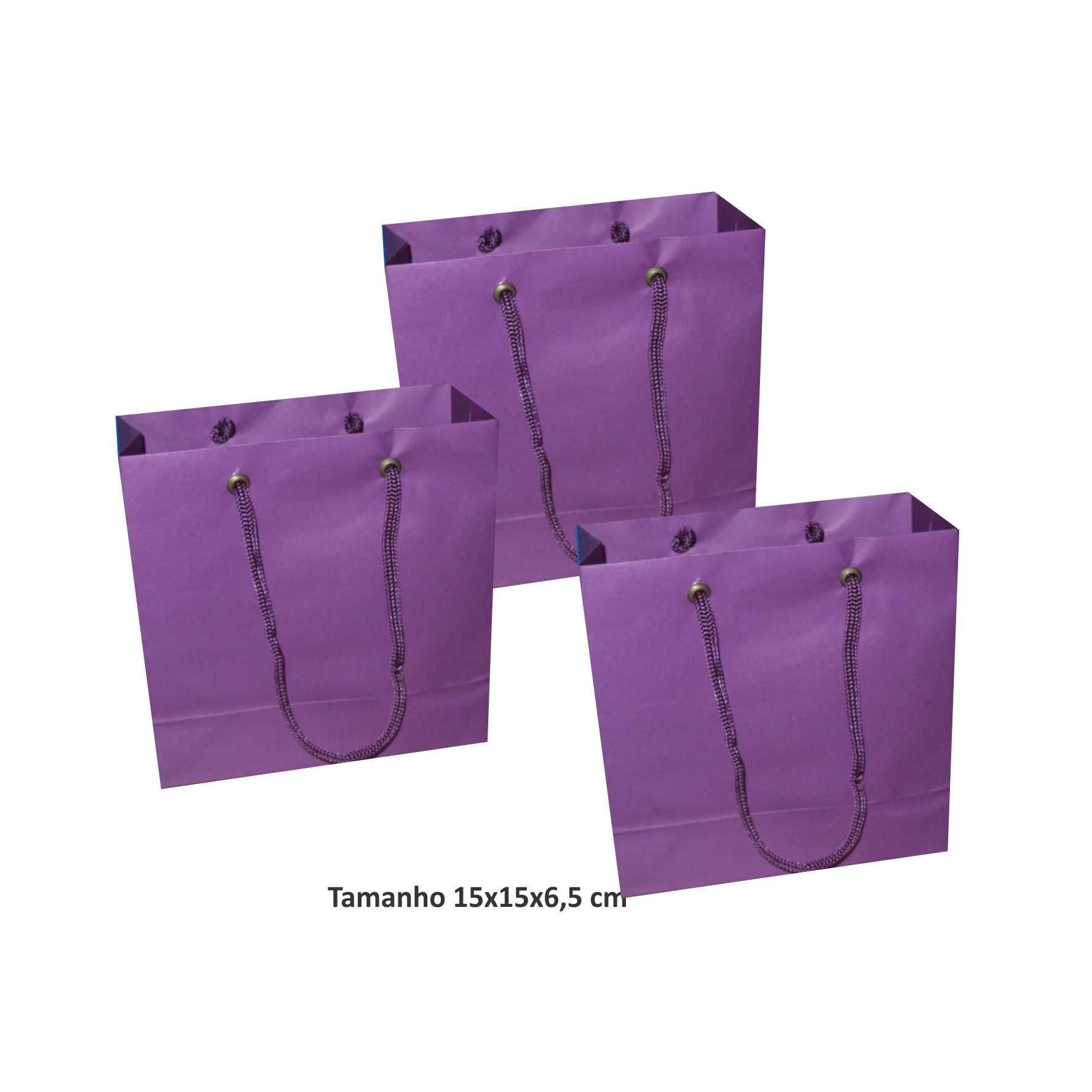 Sacola de papel Pequena (15x15x6,5 cm) lilás - 10 unidades
