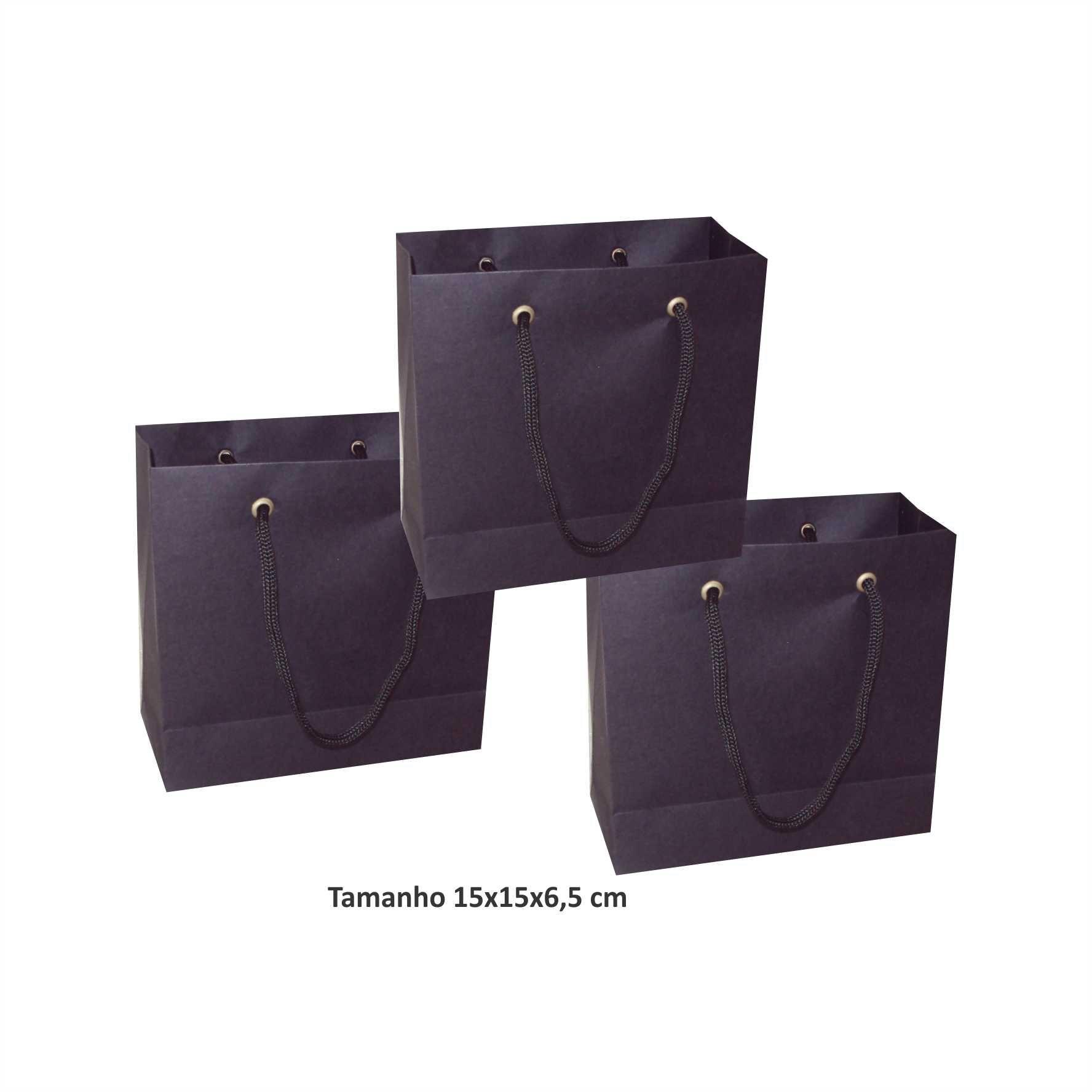 Sacola de papel Pequena (15x15x6,5 cm) preta - 10 unidades
