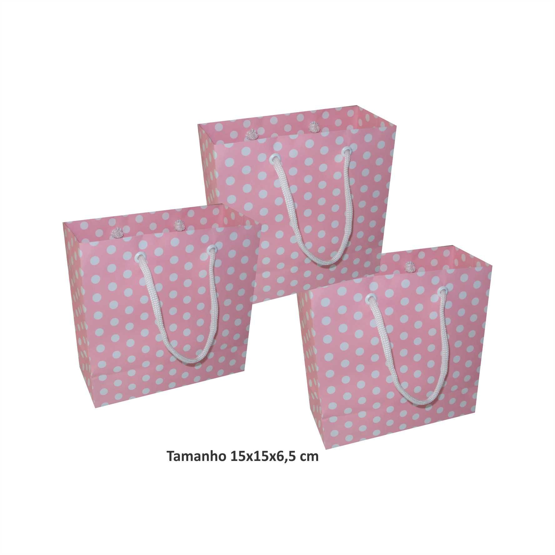 Sacola de papel Pequena (15x15x6,5 cm) rosa de bolinha branca - 10 unidades