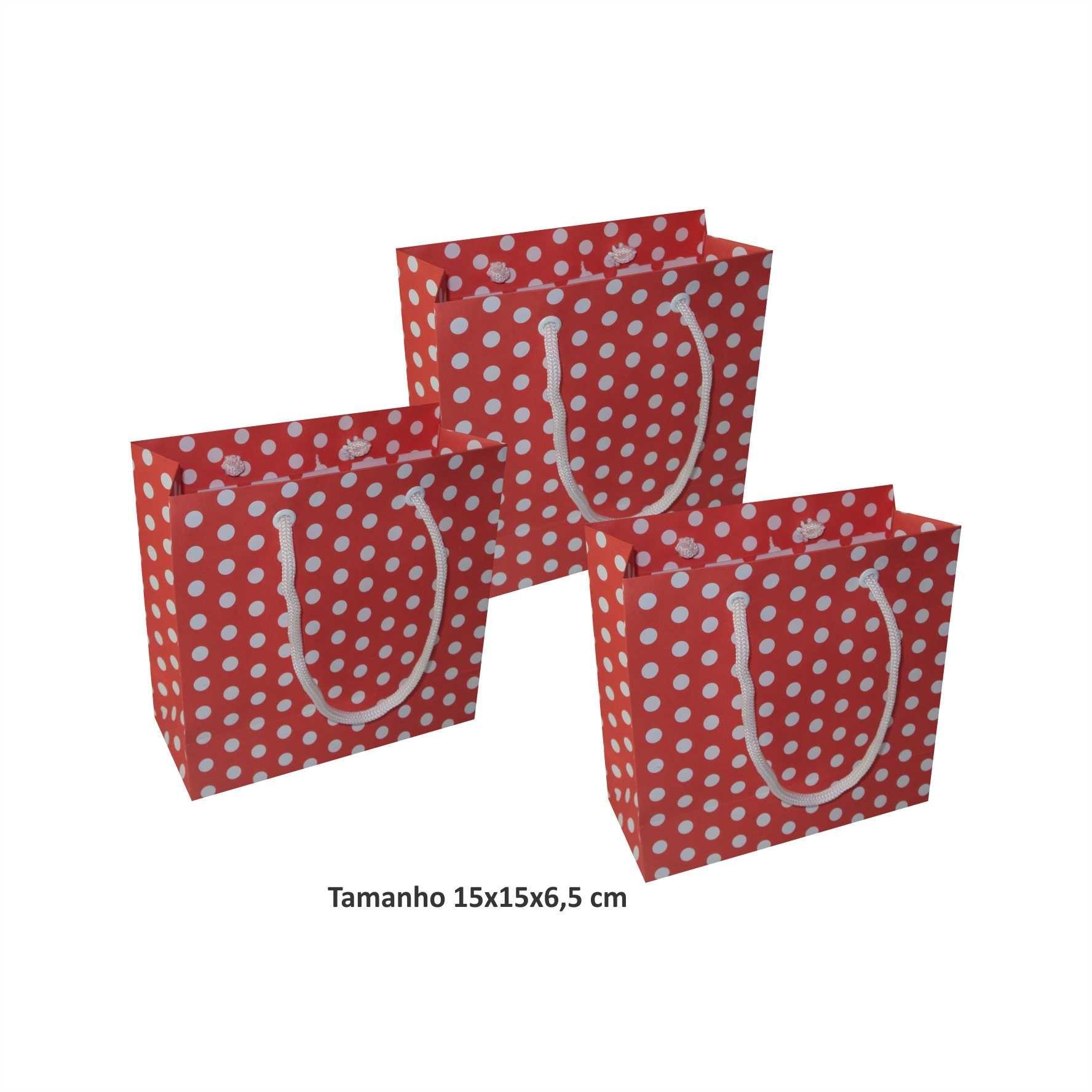 Sacola de papel Pequena (15x15x6,5 cm) vermelha de bolinha branca - 10 unidades