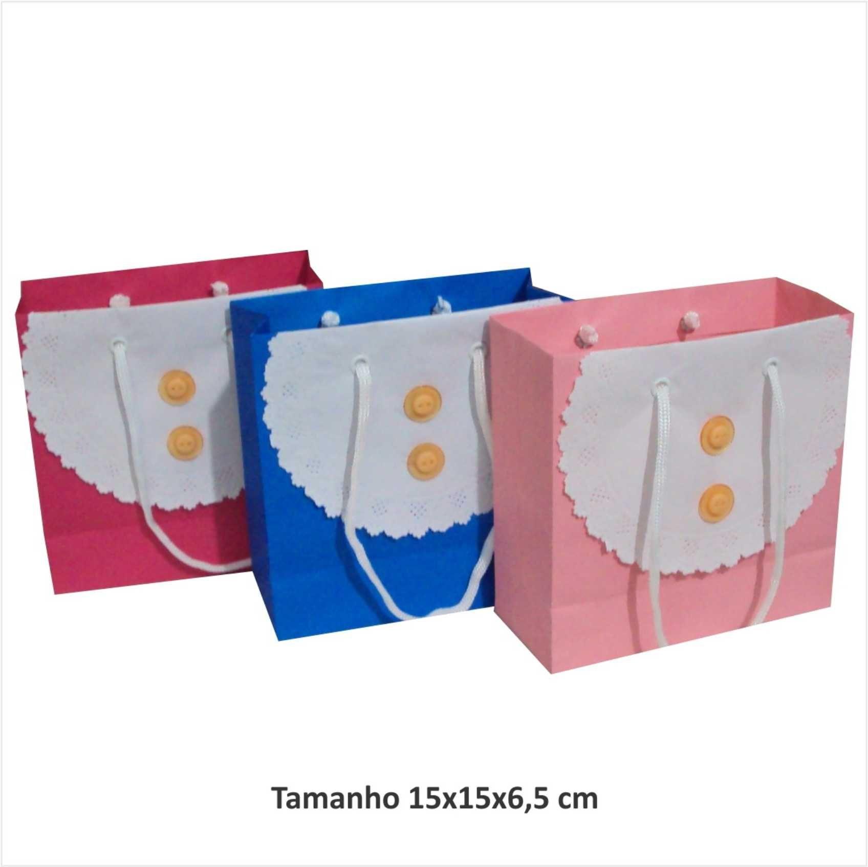 Sacola de papel Pequena - colorida - com papel rendado (15x15x6,5 cm)  - 10 unidades