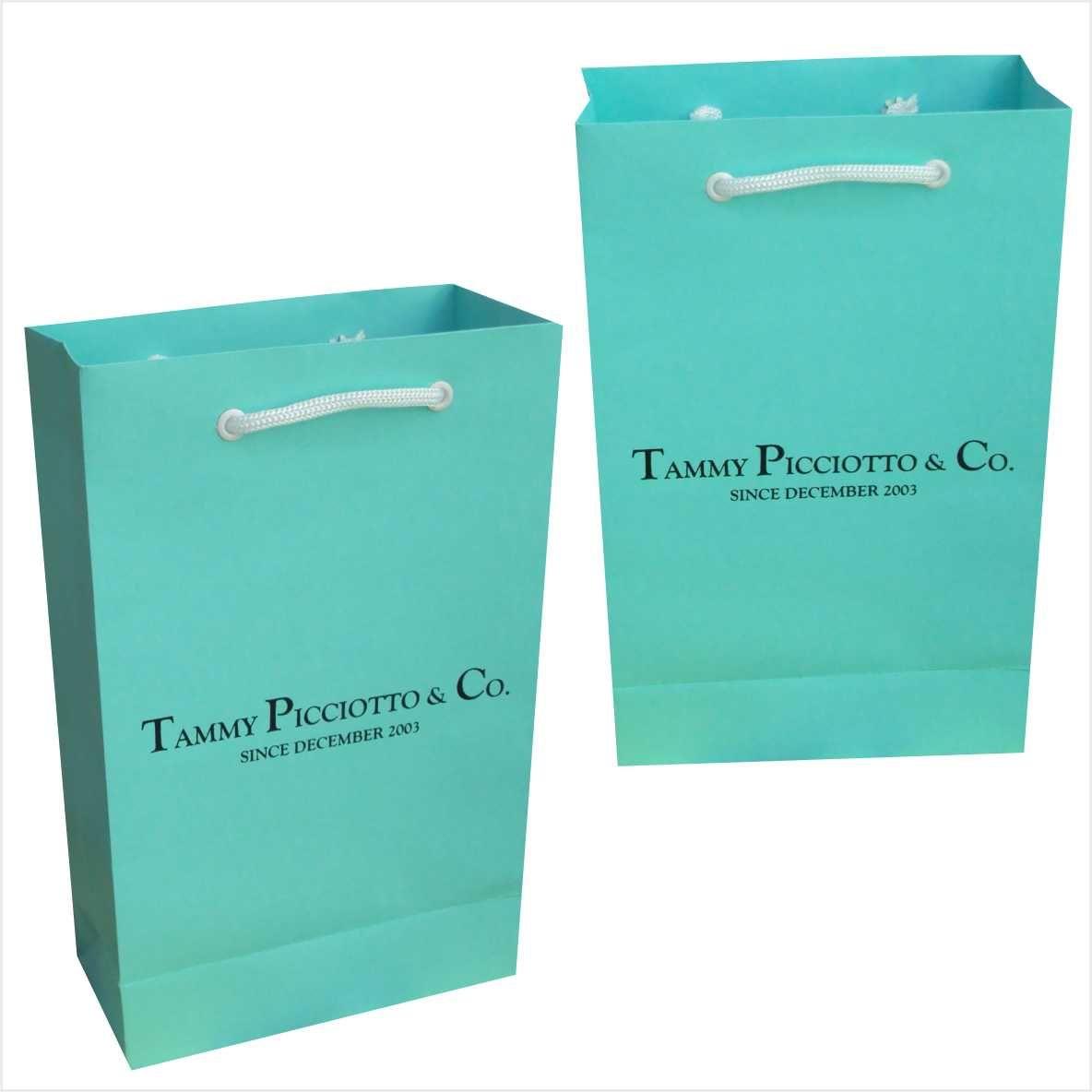 Sacola de papel pequena cor azul tiffany personalizada  (15x24x7 cm)  - 50 unidades
