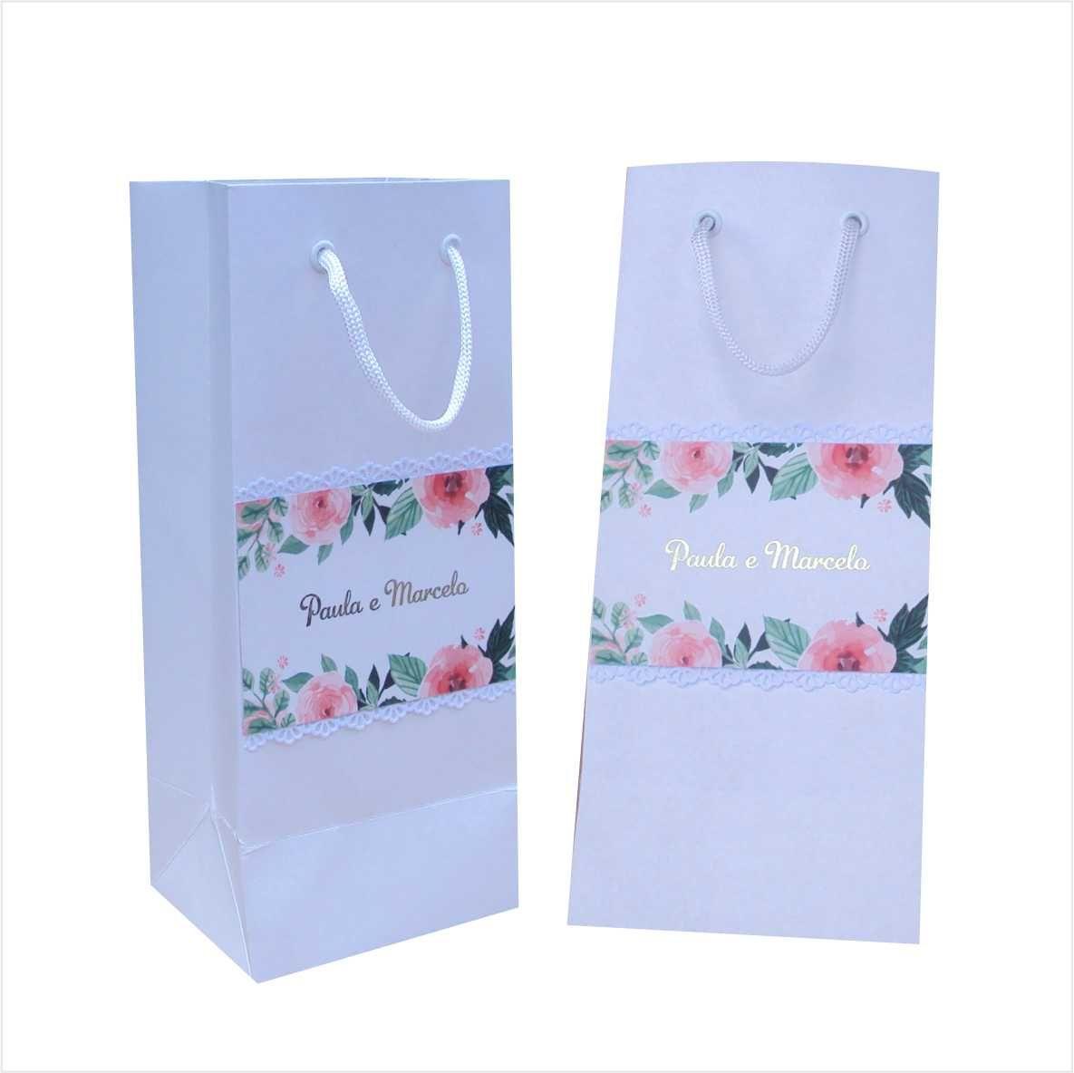 Sacola de papel para mini garrafa - cor branca - personalizada (11x23x9 cm) 15 unidades