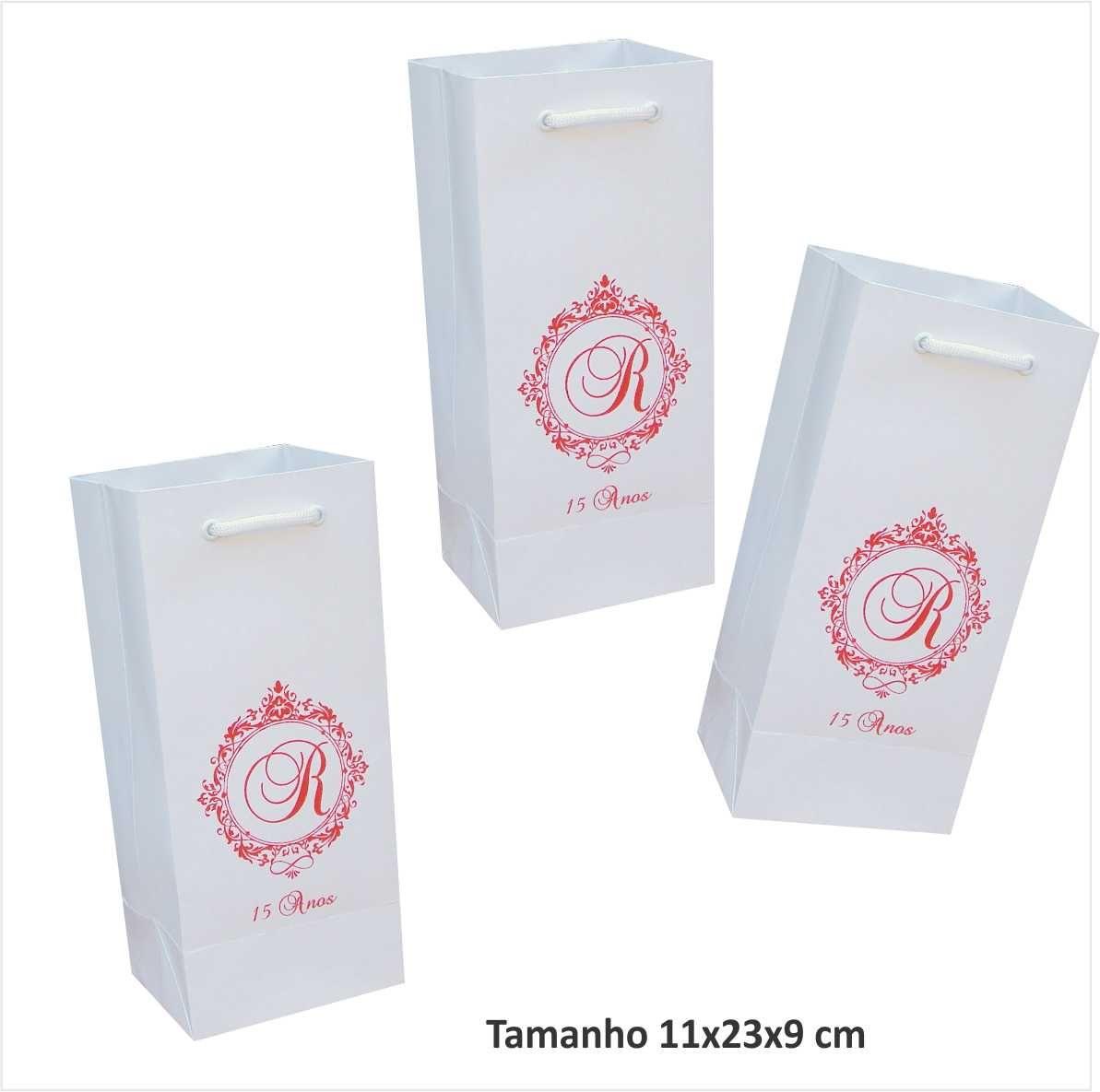Sacola de papel personalizada - cor branca ideal para mini garrafa (11x23x9 cm) 30 unidades