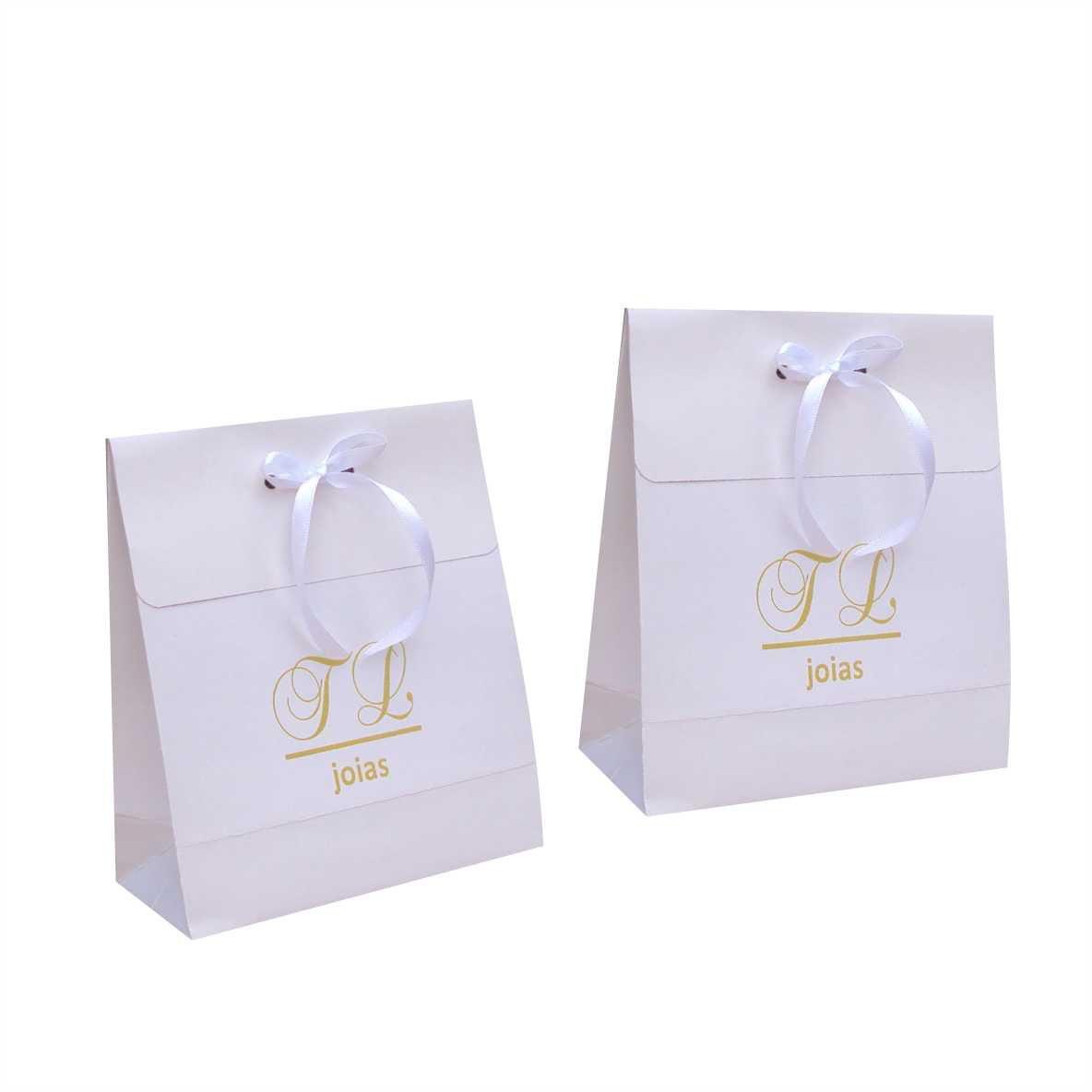 Sacola de papel branca pequena - personalizada para bijuterias (15x17x6,5 cm) 100 unidades