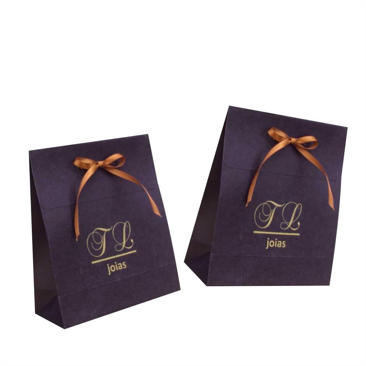 Sacola de papel  preta ou branca pequena - personalizada para bijuterias (15x17x6,5 cm) 100 unidades