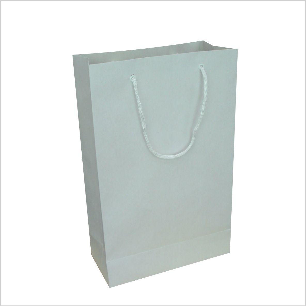 Sacola kraft cor branca média (22x35x10 cm)