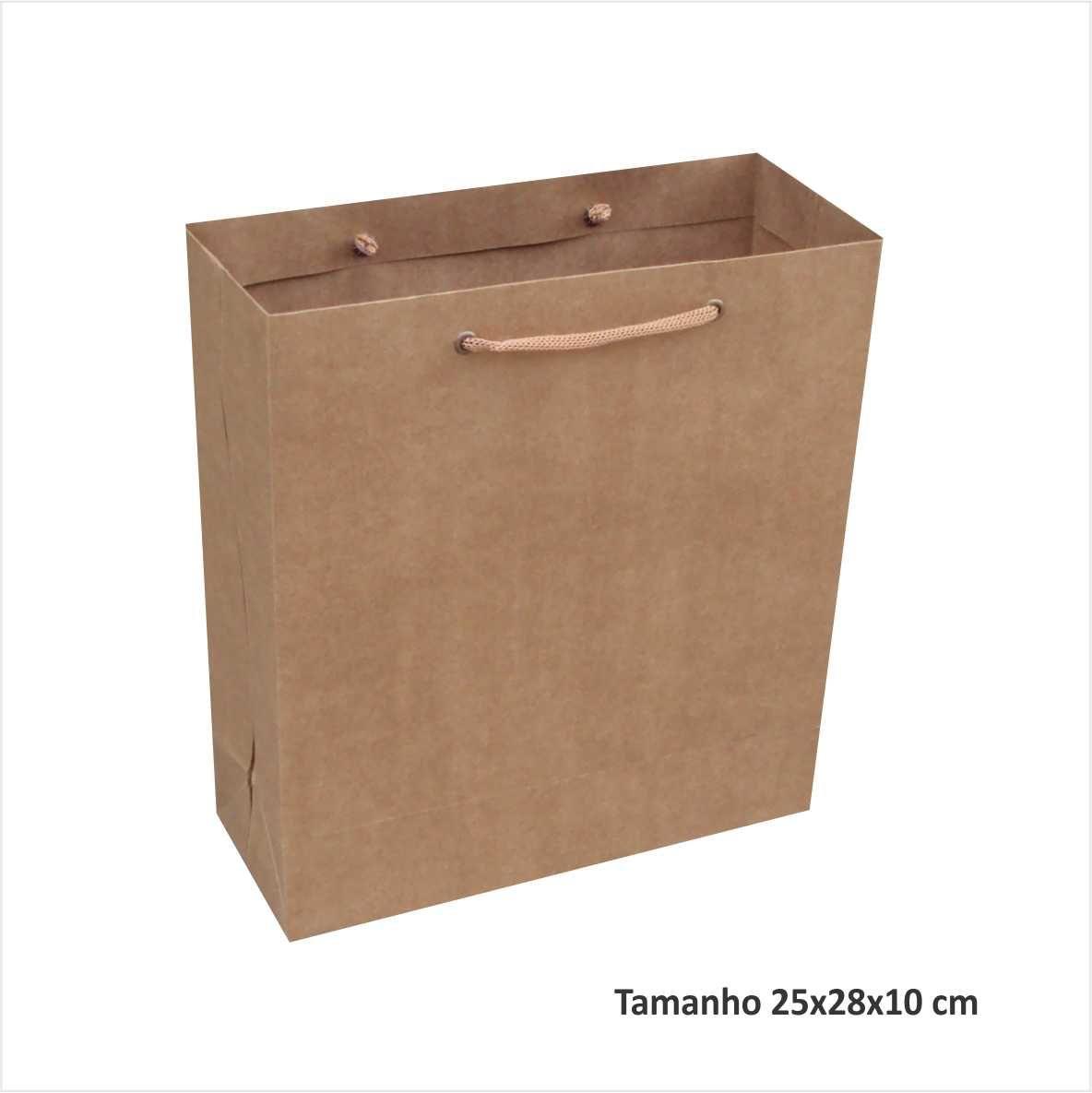 Sacola kraft media (25x28x10 cm) - cor parda - 10 unidades