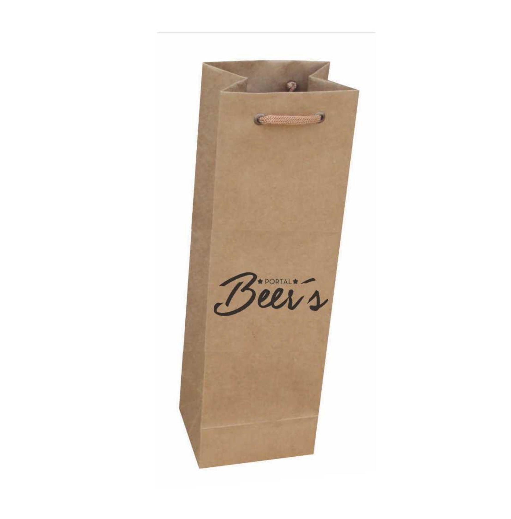 Sacola kraft para 01 garrafa - personalizada em 01 cor (11x35x9 cm) 100 unidades
