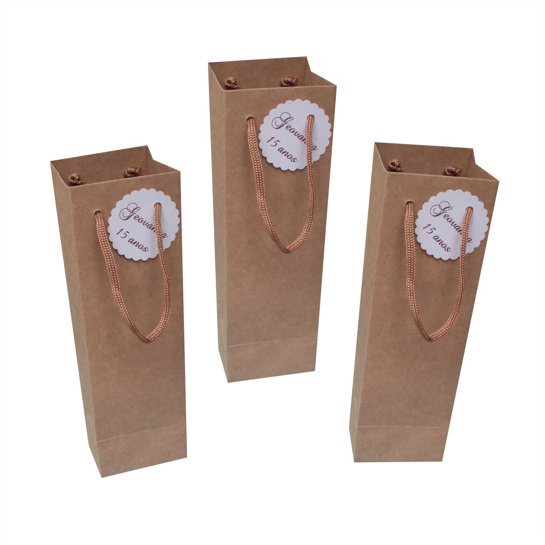 Sacola kraft para taça ou long drink com tag (7,5x24x7 cm) - cor parda - 10 unidades