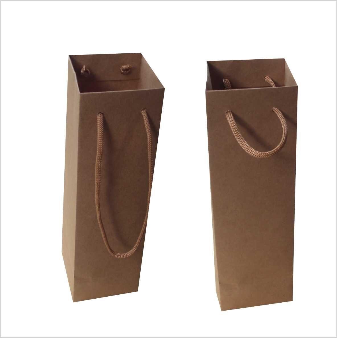 Sacola kraft para taça ou long drink (7,5x24x7 cm) - cor parda - 10 unidades