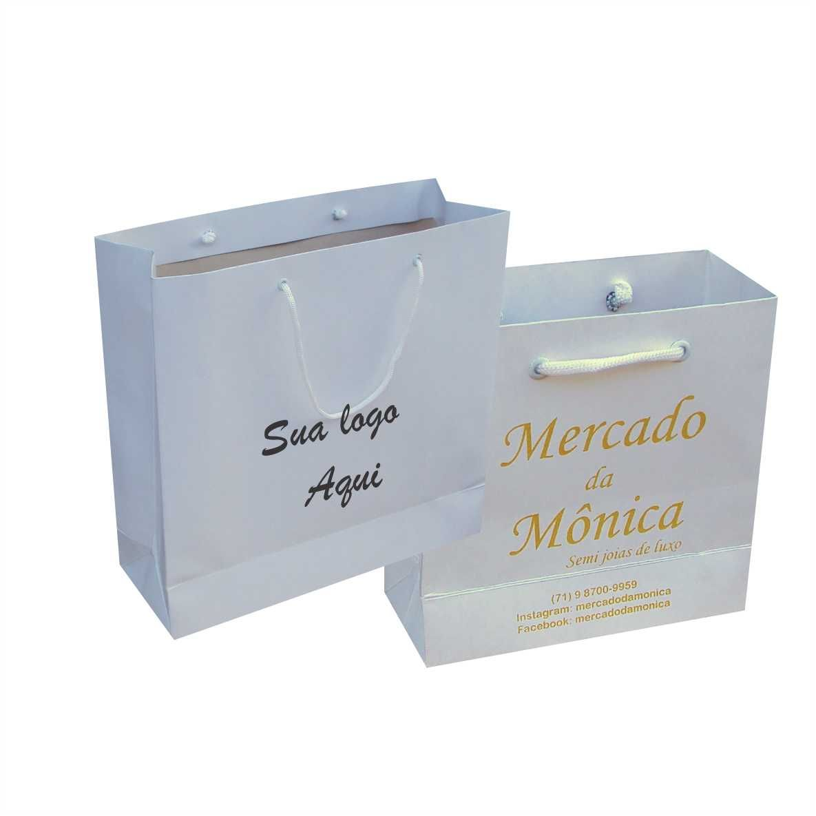 Sacola  kraft pequena cor branca (15x15x6,5 cm) personalizada - 100 unidades