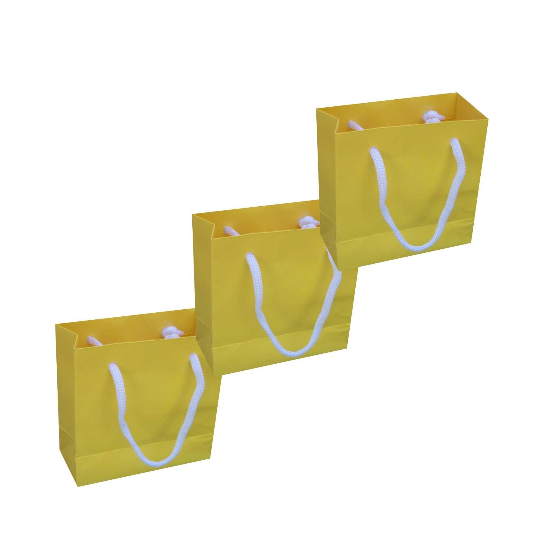 Sacola de papel mini (10x10x4,5 cm) - amarela - 10 unidades