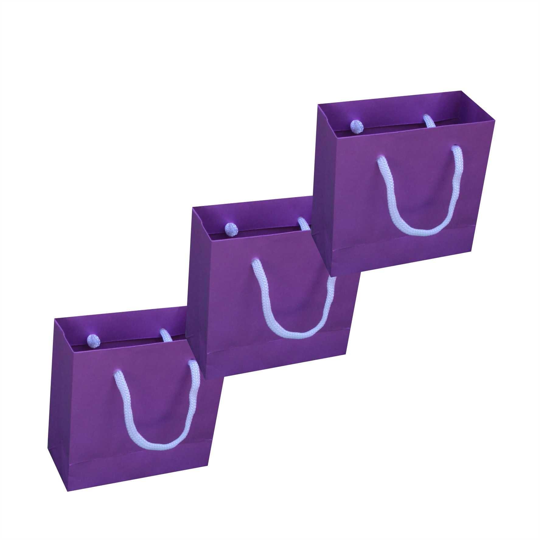 Sacola de papel mini (10x10x4,5 cm) - lilás - 10 unidades