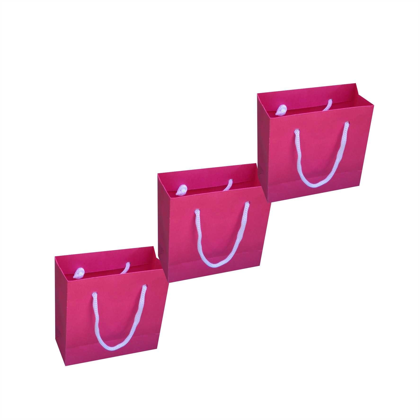 Sacola de papel mini (10x10x4,5 cm) - Pink - 10 unidades