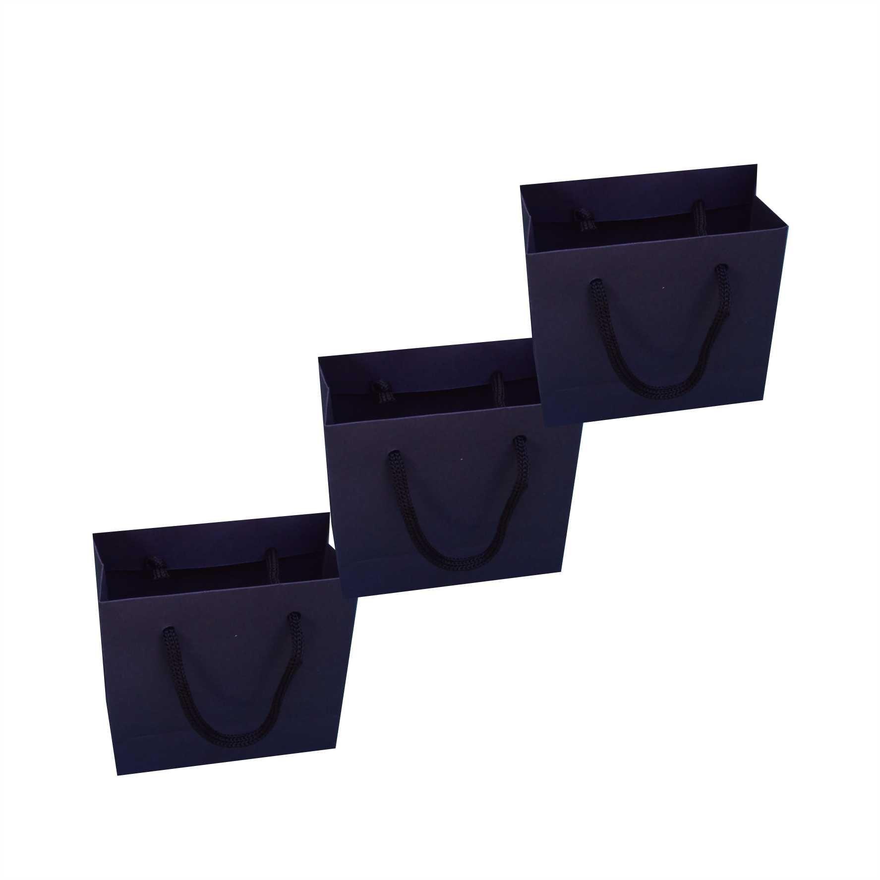 Sacola de papel mini (10x10x4,5 cm) - preta - 10 unidades