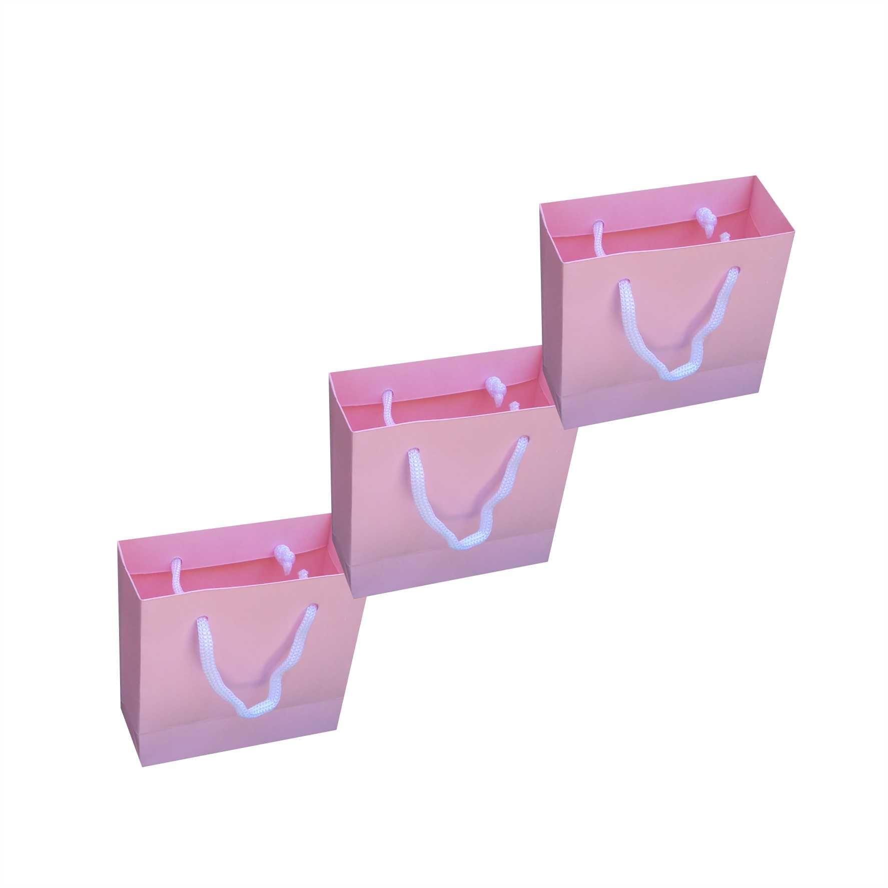 Sacola de papel mini (10x10x4,5 cm) - rosa claro - 10 unidades