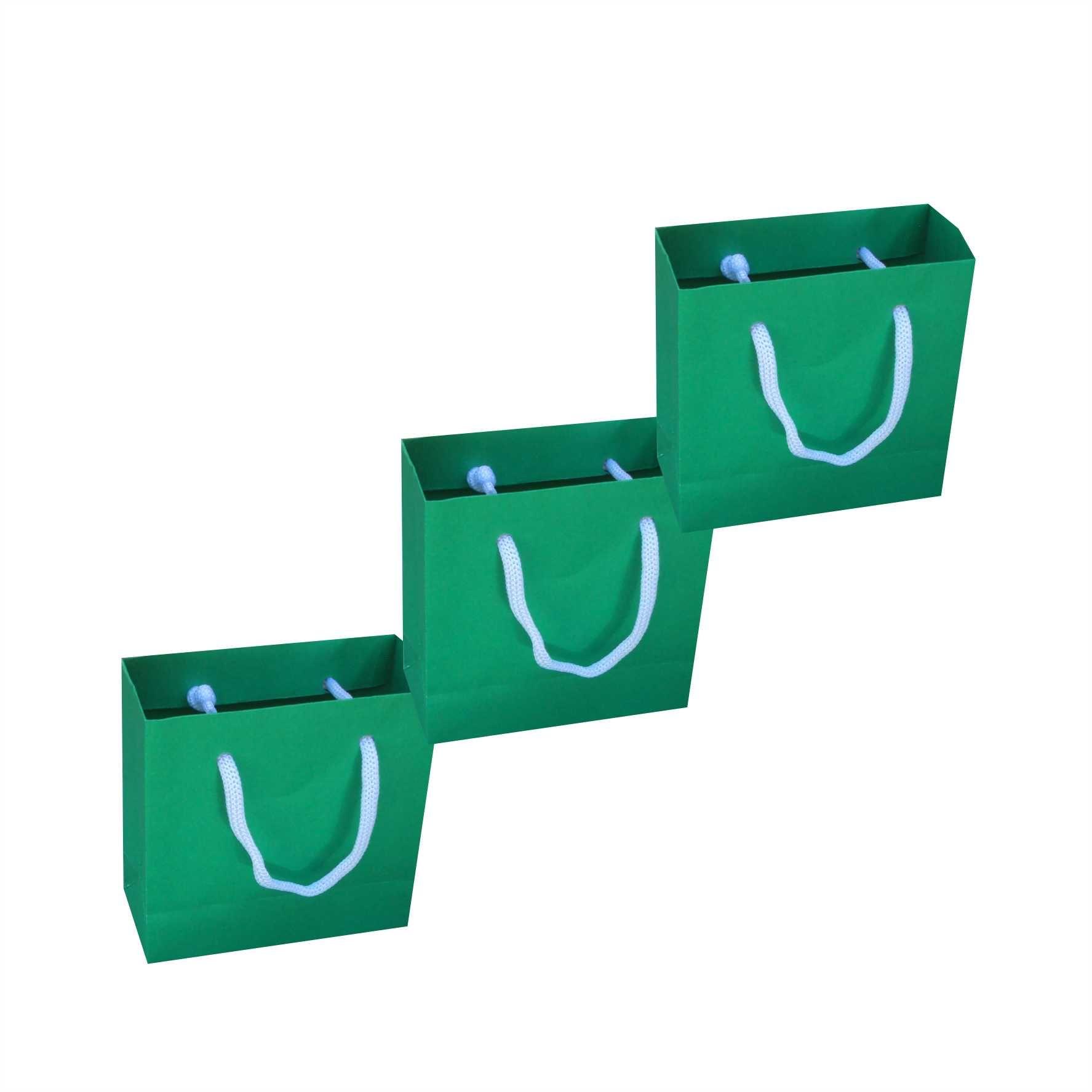 Sacola de papel mini (10x10x4,5 cm) - verde escuro - 10 unidades