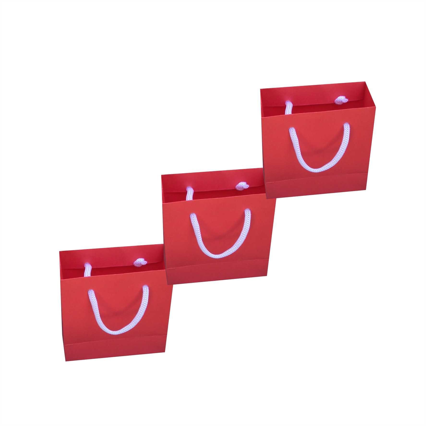Sacola de papel mini (10x10x4,5 cm) - vermelha - 10 unidades