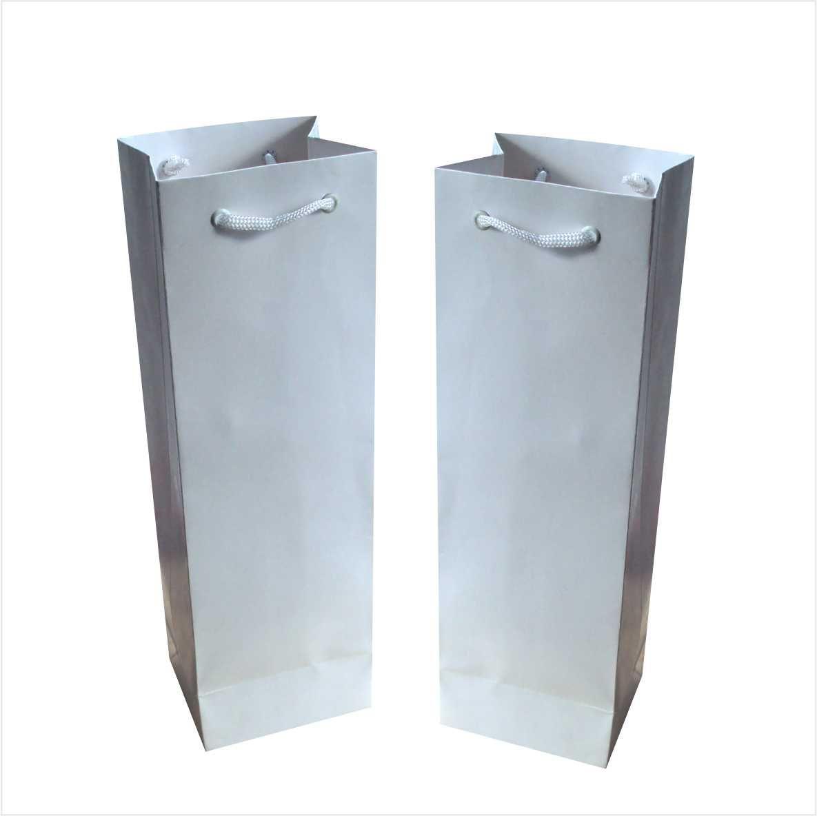 Sacola para 01 garrafa cor branca  (11x35x9 cm) - 10 unidades