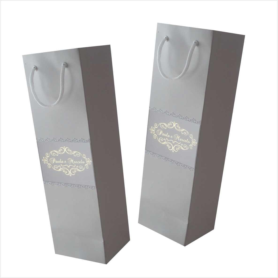 Sacola para 01 garrafa cor branca  personalizada (11x35x9 cm) - 10 unidades