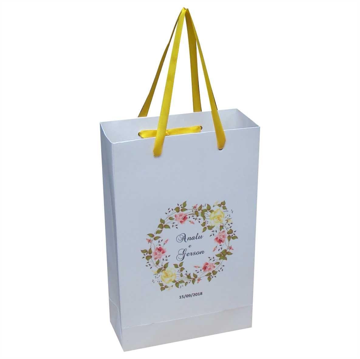 Sacola personalizada alça de cetim ideal para casamento - 10 unidades