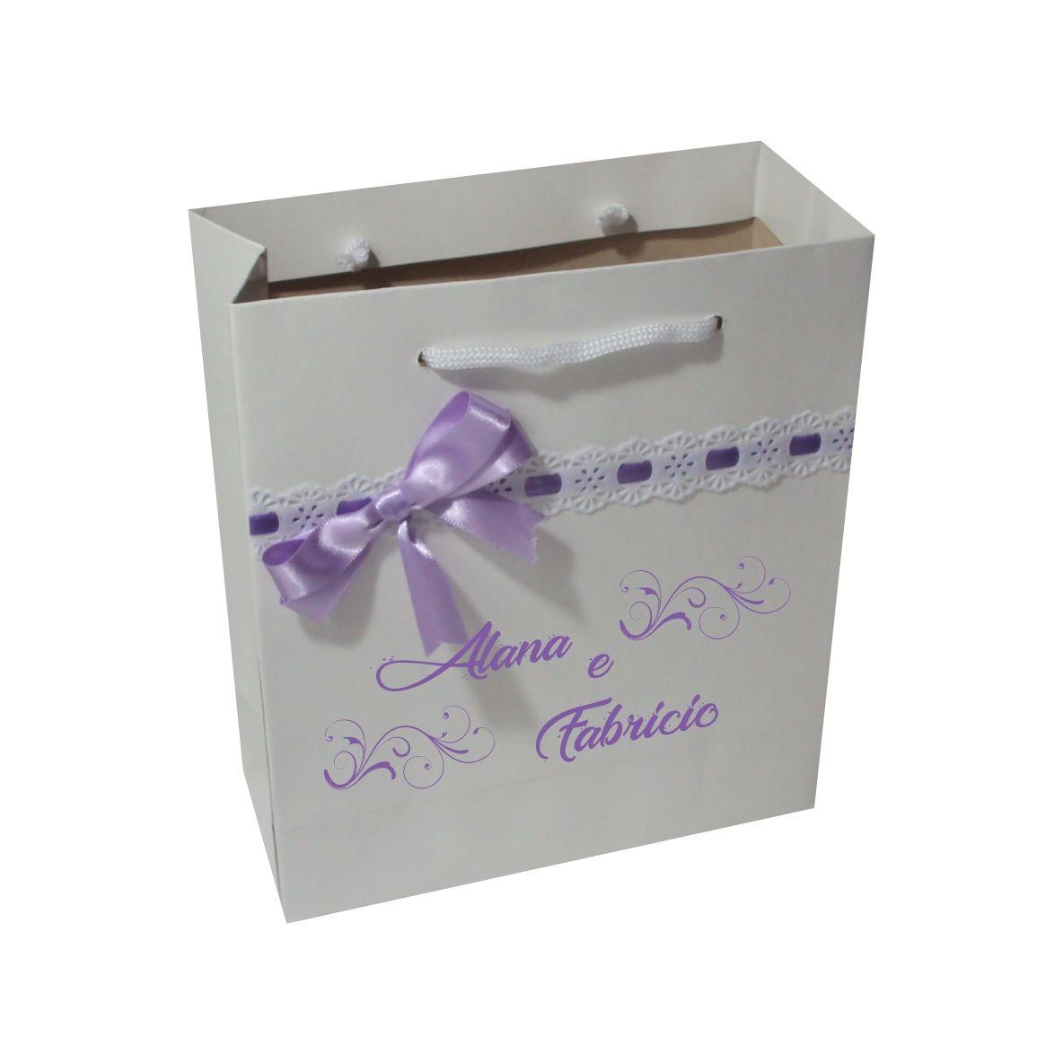 Sacola personalizada p/ casamento - cor lilas-50 unid