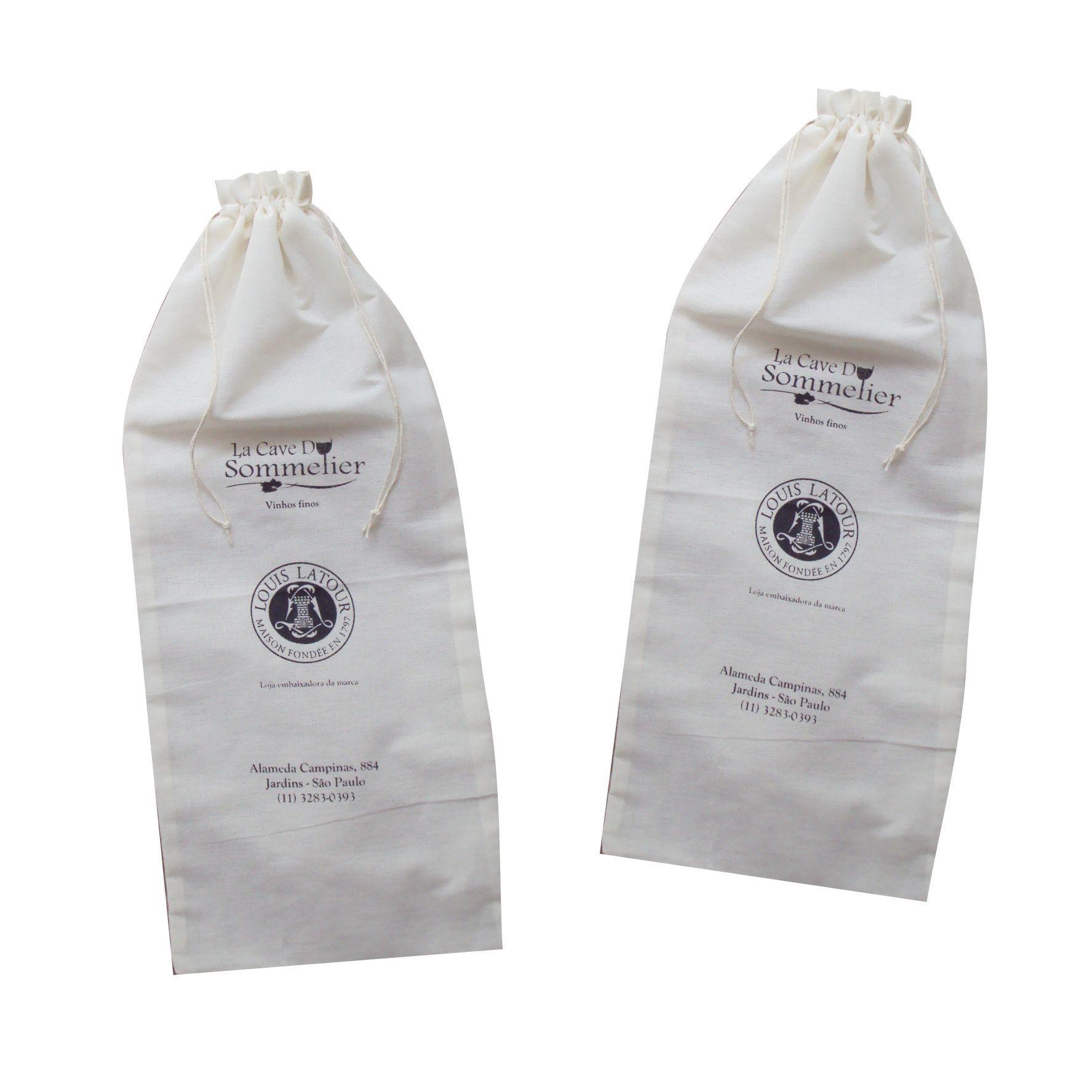 Saquinho de algodão cru personalizado para garrafa de vinho ou champanhe-50 unidades