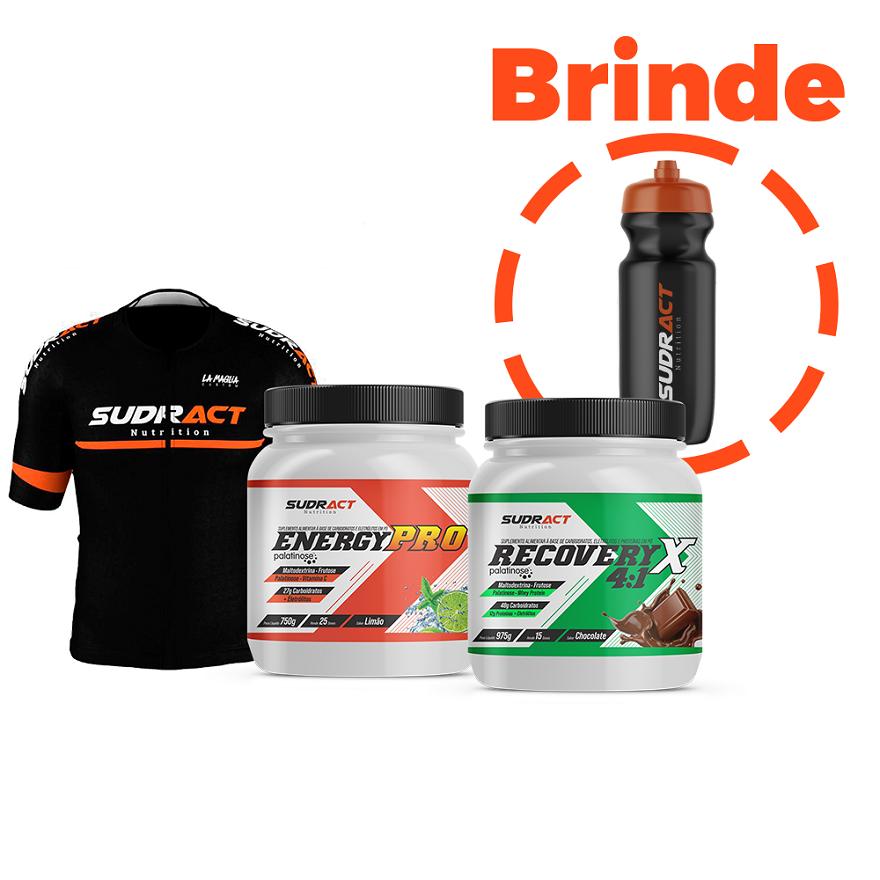 1 Camisa Ciclismo + 1 Pote Energy Pro + 1 Pote Recovery 4:1 + 1 Squeeze de Brinde
