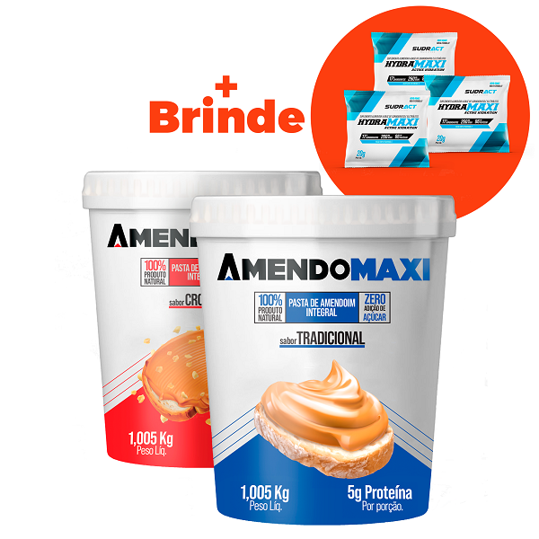Combo 2 Pasta de Amendoim 1kg Crocante + Tradicional  AmendoMaxi + 3 Sachês Hydramaxi 20g Brinde