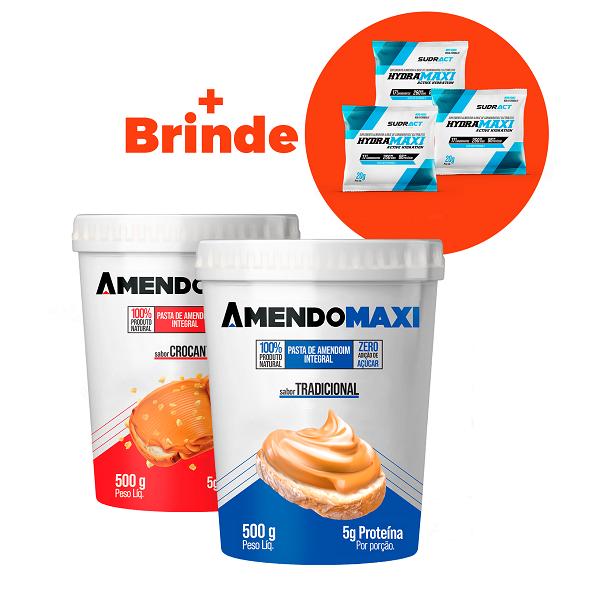 Combo 2 Pasta de Amendoim 500g - Crocante + Tradicional  AmendoMaxi + 3 Sachês Hydramaxi 20g Brinde