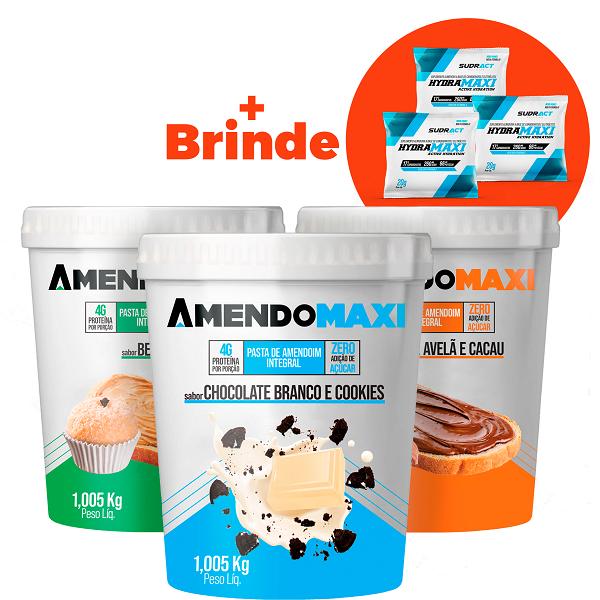 Combo 3 Pasta de Amendoim 1kg Chocolate Branco e Cookies / Creme de Avelã / Beijinho + 3 Sachês Hydramaxi 20g Brinde