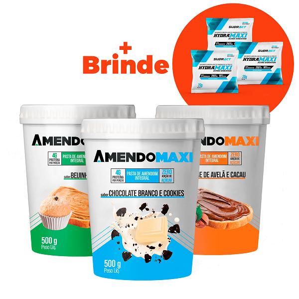Combo 3 Pasta de Amendoim 500g Chocolate Branco e Cookies / Creme de Avelã / Beijinho + 3 Sachês Hydramaxi 20g Brinde