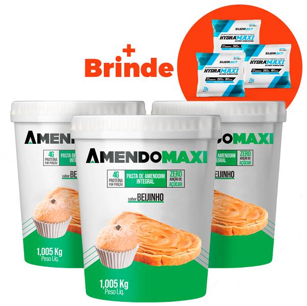 Combo 3 Pasta de Amendoim Beijinho 1kg  AmendoMaxi + 3 Sachês Hydramaxi 20g Brinde