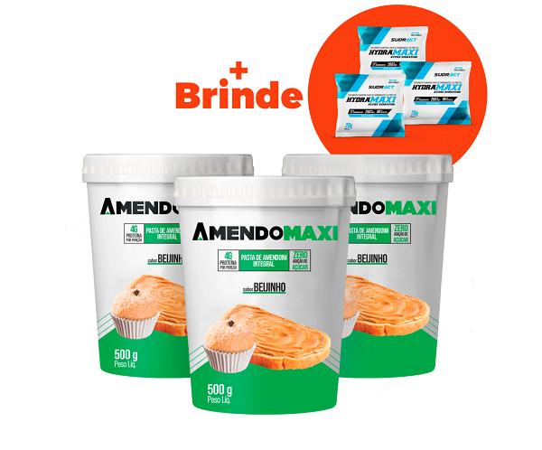 Combo 3 Pasta de Amendoim Beijinho 500g  AmendoMaxi + 3 Sachês Hydramaxi 20g Brinde
