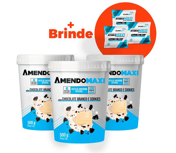 Combo 3 Pasta de Amendoim Chocolate Branco e Cookies 500g  AmendoMaxi + 3 Sachês Hydramaxi 20g Brinde